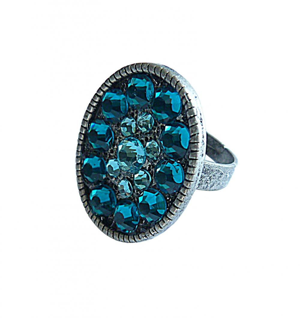 Swarovski Crystal Estate Cocktail Style Adjustable Ring in Blue and Dark Turquoise